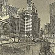 Frozen Chicago River. Poster
