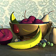 Fruit Bowl With Bananas Poster