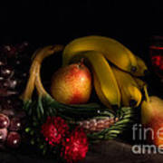 Fruit Still Life With Wine Poster