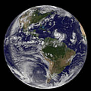 Full Earth Showing Two Tropical Storms Poster