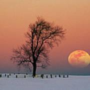 Full Moon Rising Near Graveyard Poster