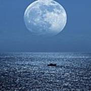 Full Moon Rising Over The Sea Poster by Detlev Van Ravenswaay