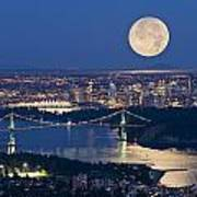 Full Moonrise Over Vancouver, British Poster