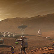 Future Mars Colonists Playing Poster