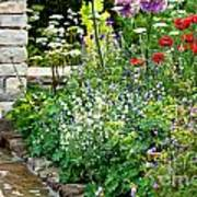 Garden Flowers With Stream Poster