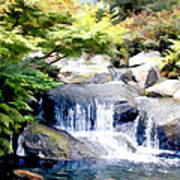 Garden Waterfall With Koi Pond Poster