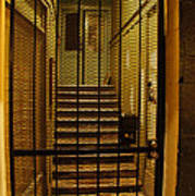 Gated Stairwell At Night Poster