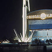 General Electric Pavilion At Night Poster