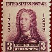 General James Oglethorpe Postage Stamp Poster
