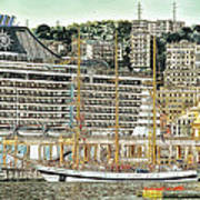 Genova Cruising And Sailing Ships And Buildings Landscape Poster