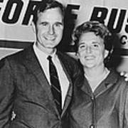 George And Barbara Bush In Houston Poster