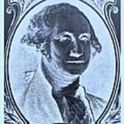 George Washington In Negative Cyan Poster