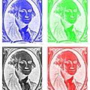 George Washington In Quad Negative Poster