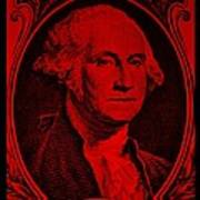 George Washington In Red Poster