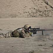 German Soldier Firing A Barrett M82a1 Poster