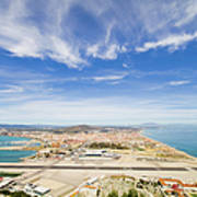 Gibraltar Airport Runway And La Linea Town Poster