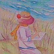 Girl Artsit By The Sea Poster