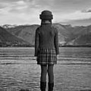 Girl At A Lake Poster
