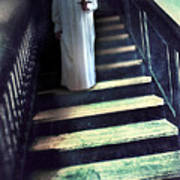 Girl In Nightgown On Steps Poster