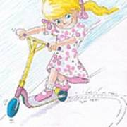 Girl On A Microscooter Cartoon Poster