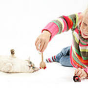 Girl Playing With Cat Poster