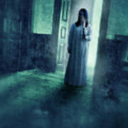 Girl With Candle In Doorway Poster