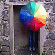 Girl With The Rainbow Umbrella At Mussendun Hall Poster