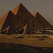 Giza Pyramids From Left Kings Menkure Poster by Kenneth Garrett