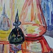 Glass Bottles Still Life Poster