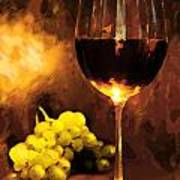 Glass Of Wine And Green Grapes By Candlelight Poster