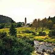 Glendalough Stream And Tower Poster