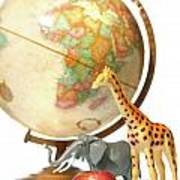 Globe With Toys Animals On White Poster