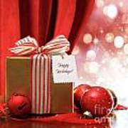 Gold Christmas Gift Box And Ornaments With Sparkle Lights  Poster