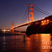 Golden Gate Bridge At Night 2 Poster