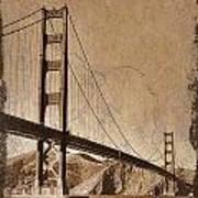 Golden Gate Bridge Sepia Poster