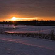 Golden Orange Winter Sunset Over The Golf Poster