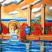 Golden Pillers Reflection Pond Poster