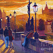 Golden Prague Charles Bridge Sunset Poster