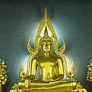 Golden Sitting Buddha Poster