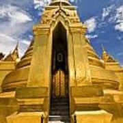 Golden Stupa Front View Bangkok Poster