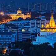 Golden Temple Bangkok Night Poster by Arthit Somsakul