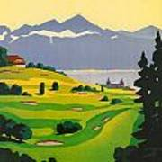Golfing In Lausanne Poster