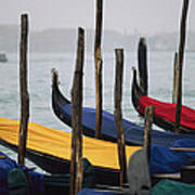 Gondolas At Harbor On A Misty Day Poster