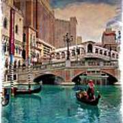 Gondolas On The Canal - Impressions Poster