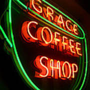 Grace Coffee Shop Neon Poster