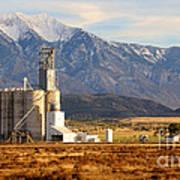 Grain Silo Below Wasatch Range - Utah Poster