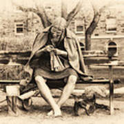 Granny Sitting On A Bench Knitting Ursinus College Poster
