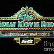 Great Movie Ride Neon Sign Hollywood Studios Walt Disney World Prints Glowing Edges Poster