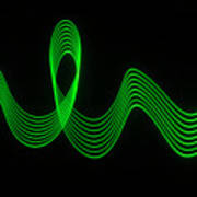 Green Abstract Coloured Lights Trails And Patterns Poster