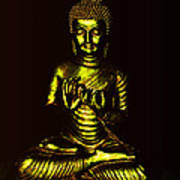 Green And Gold Buddha Poster